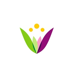 colorful simple flower beauty logo vector image