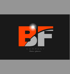 Combination letter bf b f in grey orange color vector