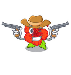 Cowboy ambilcus flower in form cute cartoon vector
