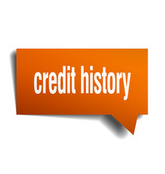 Credit history orange 3d speech bubble vector