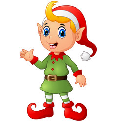 Cute christmas elf waving hands vector