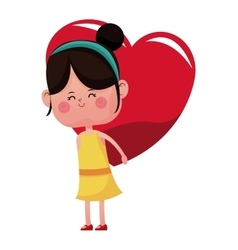 Cute girl carrying on back heart vector