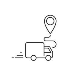 delivery truck going to destination place linear vector image