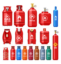 Different gas cylinders with valve and meter gauge vector