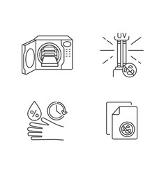 Disinfection equipment pixel perfect linear icons vector
