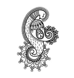 drawing of peacock for henna mehndi tattoo vector image