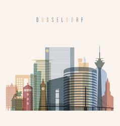 dusseldorf skyline detailed silhouette vector image