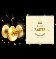 easter black composition with a silhouette of eggs vector image