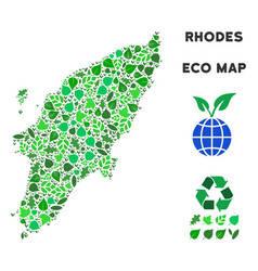 Eco green composition greek rhodes island vector