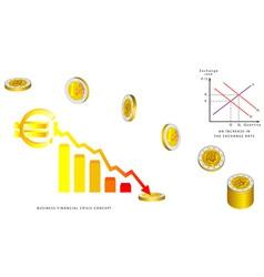 Euro coins falling vector