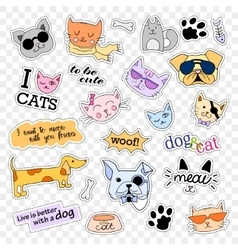 Fashion patch badges pop art set cats and dogs vector