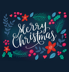 Festive background with merry christmas lettering vector