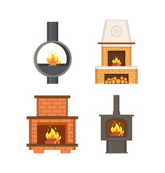 fireplace with logs and fire flames isolated set vector image