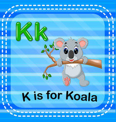 Flashcard letter k is for koala vector