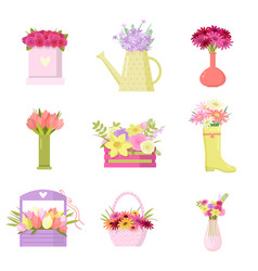 Floral set colorful bouquets in different vases vector