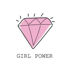 Girl power colorful graffiti with diamond vector