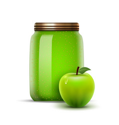 glass jar apple jam fruit bottle jelly vector image