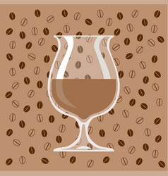 glass of coffee liqueur on background of coffee vector image