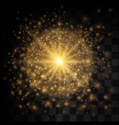Glow light effect star burst with sparkles golden vector
