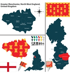 Greater manchester north west england small vector