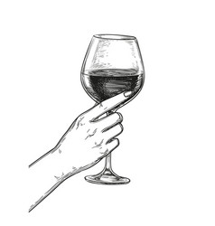 Hand holding a glass of wine vector