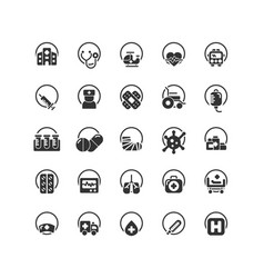 Hospital solid icon set vector