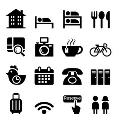 hostel hotel icon set vector image