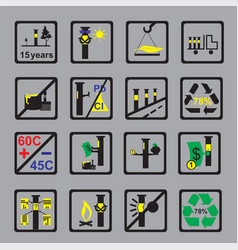 Icons measuring device for oil pipeline on grey vector