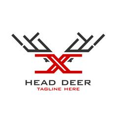 initial logo x deer vector image