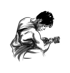 Ink sketch of a man exercising vector