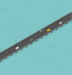 isometric bridge road low traffic long elevated vector image