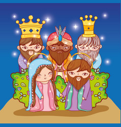 Joseph and mary with three kings together vector