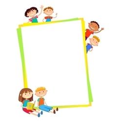 kids bunner around vertical banner vector image