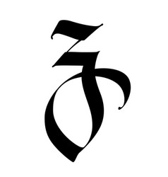 Letter z in gothic style alphabet symbol vector