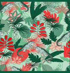 Lizard in jungle pattern seamless design vector
