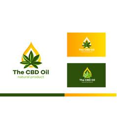 logo a sheet cannabis and a drop oil modern vector image