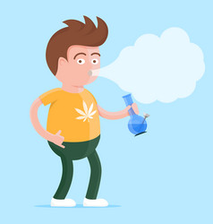 Man with bong in the hand smoking marijuana vector
