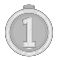 Medal for first place icon gray monochrome style vector