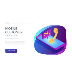 mobile customer service isometric 3d landing page vector image