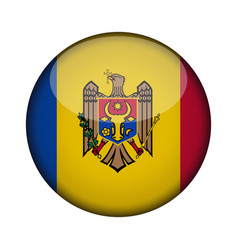 moldova flag in glossy round button of icon vector image