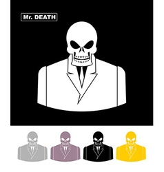 Mr death Skull wearing businessman Skeleton in an vector image