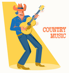 Musician singer man in cowboy hat palying the vector