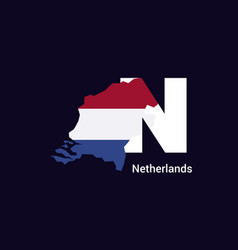Netherlands initial letter country with map and vector