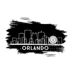 Orlando florida city skyline silhouette hand vector
