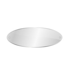 Oval blank glass plate isolated icon vector