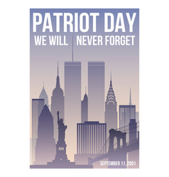 Patriot day poster with new york skyline vector