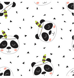 pattern cute tribal panda vector image