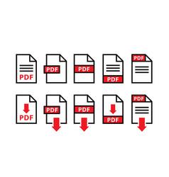 Pdf file download icons symbols pdf type vector