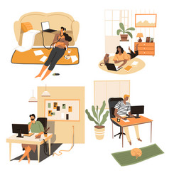 people staying at home playing computer or vector image