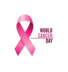 pink cancer ribbon international cancer awareness vector image